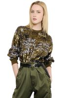 Isabel Marant Sequined Techno Blend Jersey Top - Lyst