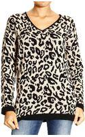Armani Jeans V Jaquard Leopard Sweater  - Lyst