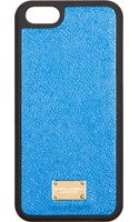 Dolce & Gabbana Blue Leather Iphone 5 Case - Lyst