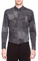 Maison Martin Margiela Printed Buttondown Shirt Blackwhite - Lyst
