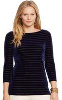 Lauren by Ralph Lauren Plus Striped Velvet Shirt - Lyst