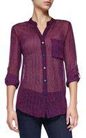Diane Von Furstenberg Gilmore Sheer Printed Silk Blouse Snke Weave Txt Rd 0 - Lyst