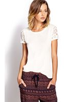 Forever 21 Dainty Lace Tee - Lyst