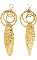 Devon Leigh Hammered Goldplate Tiered Circle Leaf Earrings - Lyst