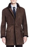 Brunello Cucinelli Shearling Furlined Suede Jacket - Lyst