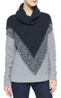 Autumn Cashmere Chevronpattern Cowlneck Cashmere Sweater - Lyst