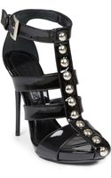 Alexander McQueen Patentleather Studded Caged Sandals - Lyst
