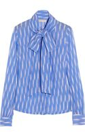 Michael by Michael Kors Printed Georgette Pussybow Blouse - Lyst
