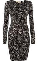 Michael Kors Long Sleeved Cowl Neck Zip Pleat Dress - Lyst
