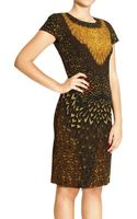 Alberta Ferretti Dress Short Sleeve with Feather Print - Lyst