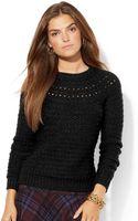 Lauren by Ralph Lauren Pointelle-Knit Crew-Neck Sweater - Lyst