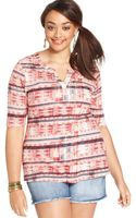 Lucky Brand Plus Size Shortsleeve Printed Top - Lyst