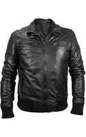 Forzieri Mens Black Leather Motorcycle Jacket - Lyst