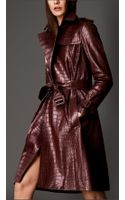 Burberry Long Alligator Trench Coat - Lyst