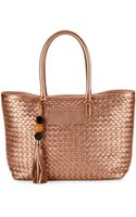 Rebecca Minkoff Perfection Woven Metallic Leather Tote Bag - Lyst