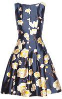 Oscar de la Renta Floral-print Silk and Wool-blend Satin Dress - Lyst
