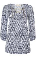 Michael Kors Printed Lace Up Tunic Top - Lyst