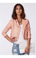 Missguided Shaina Pink Biker Jacket - Lyst