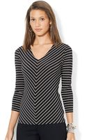 Lauren by Ralph Lauren Three Quarter Sleeved Top - Lyst