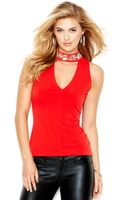 Guess Sleeveless Mock-turtleneck Beaded Top - Lyst