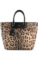 Dolce & Gabbana Leopard Print Shopper Tote - Lyst