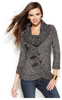 Inc International Concepts Cowl-neck Marled Buckle Sweater - Lyst