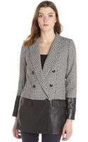 Rachel Zoe Black and White Houndstooth Wool Blend and Leather Huxley Jacket - Lyst