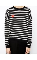 Asos Jumper in Stripe with Heart Patch - Lyst