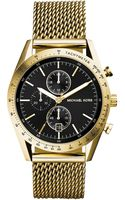 Michael Kors Mens Chronograph Accelerator Gold-tone Stainless Steel Mesh Bracelet Watch 42mm - Lyst