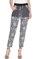 Rebecca Taylor Navy and White Stretch Paisley Print Draw String Pants - Lyst