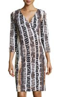 Diane von Furstenberg Long-sleeve Snake-print Wrap Dress - Lyst