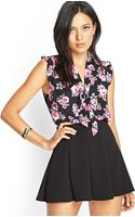 Forever 21 Floral Print Tiefront Blouse - Lyst