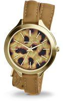 Michael Kors Slim Runway Goldtone Stainless Steel Leather Cheetah Spot Doublewrap Watch - Lyst