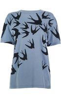 McQ by Alexander McQueen Swallow Flock Print Boyfriend T-shirt - Lyst