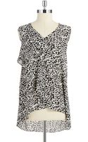 Vince Camuto Ruffle Front Top - Lyst