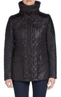 BCBGeneration Coated Leather  Knit Paneled Quilted Jacket - Lyst