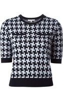 Carven Short Sleeve Houndstooth Sweater - Lyst