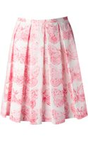 RED Valentino Butterfly Print Pleated Skirt - Lyst