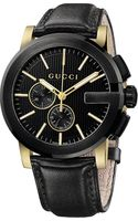 Gucci G Chrono Collection Pvd and Leather Watch Black - Lyst