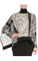 Jean Paul Gaultier Asymmetric Wool Turtleneck Poncho Top - Lyst