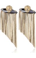 Iosselliani Goldtone Panther Fringed Earrings - Lyst