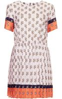 Topshop Pleated Ditsy Print Shift Dress - Lyst