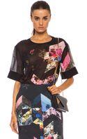 Preen Preen Oakley Printed Silk Georgette Tee - Lyst