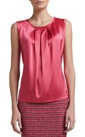 St. John Liquid Satin Shell with Front Pleat Haute Pink - Lyst