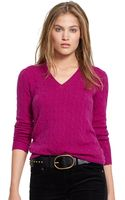 Polo Ralph Lauren Cabled Cashmere V-neck Sweater - Lyst