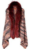 Missoni Knit Vest with Fur Trim - Lyst