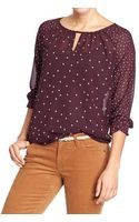 Old Navy Printed Chiffon Keyhole Blouses - Lyst