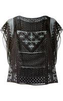 Isabel Marant Black Embroidered Silk Allen Top - Lyst