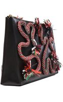 Stella McCartney Squiggle Rope Appliqué Faux Leather Clutch - Lyst