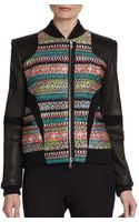 Prabal Gurung Tweedpaneled Leather Bomber Jacket - Lyst